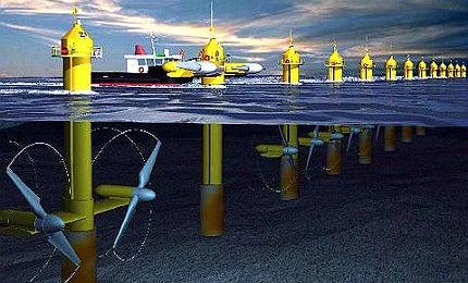 Each 1.2MW SeaGen unit has two 600KW turbines (DETI)